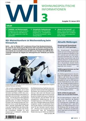 Wohnungspolitische Informationen Ausgabe 3/2012 | Wohnungspolitische Information