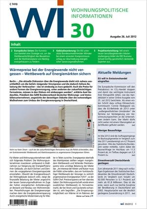 Wohnungspolitische Informationen Ausgabe 30/2012 | Wohnungspolitische Information