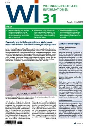 Wohnungspolitische Informationen 31/2015 GdW | Wohnungspolitische Information