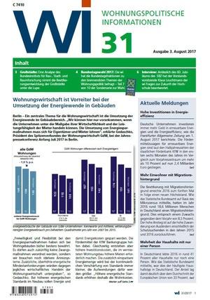 Wohnungspolitische Informationen 31/2017 gdw | Wohnungspolitische Information