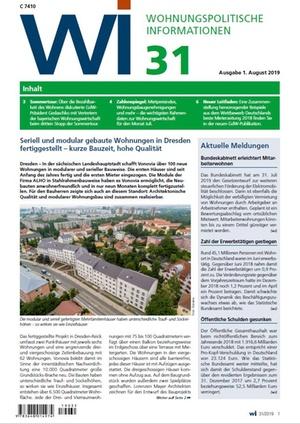 Wohnungspolitische Informationen 31/2019 gdw | Wohnungspolitische Information