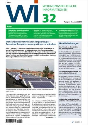 Wohnungspolitische Informationen Ausgabe 32/2012   Wohnungspolitische Information