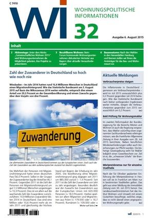 Wohnungspolitische Informationen 32/2015 GdW | Wohnungspolitische Information