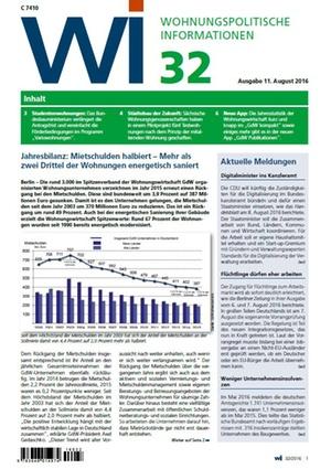 Wohnungspolitische Informationen 32/2016 gdw | Wohnungspolitische Information
