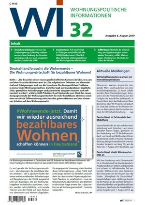 Wohnungspolitische Informationen 32/2019 gdw | Wohnungspolitische Information