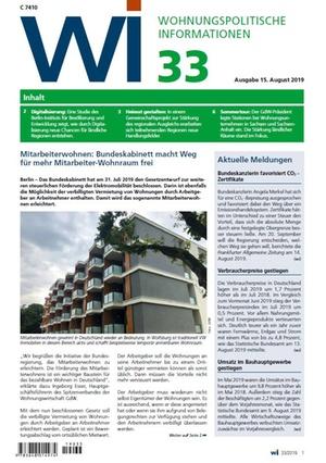 Wohnungspolitische Informationen 33/2019 gdw | Wohnungspolitische Information
