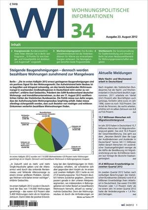 Wohnungspolitische Informationen Ausgabe 34/2012 | Wohnungspolitische Information