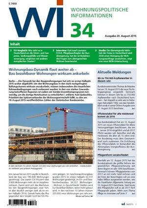 Wohnungspolitische Informationen 34/2015 GdW | Wohnungspolitische Information
