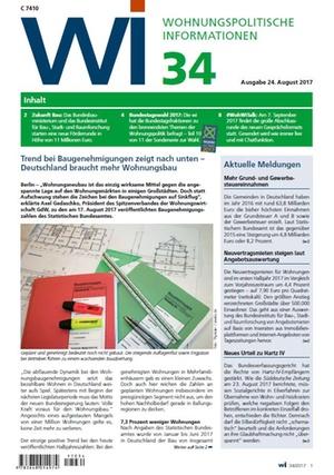 Wohnungspolitische Informationen 34/2017 gdw   Wohnungspolitische Information