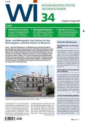 Wohnungspolitische Informationen 34/2019 gdw | Wohnungspolitische Information