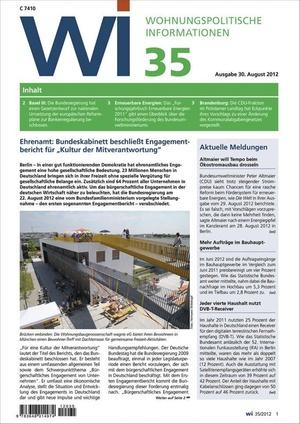 Wohnungspolitische Informationen Ausgabe 35/2012 | Wohnungspolitische Information
