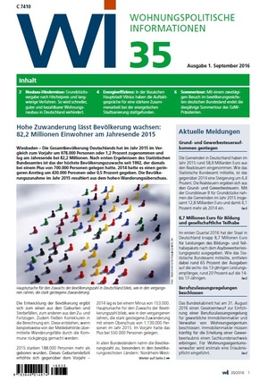 Wohnungspolitische Informationen 35/2016 gdw   Wohnungspolitische Information