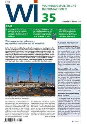 Wohnungspolitische Informationen 35/2017 gdw | Wohnungspolitische Information