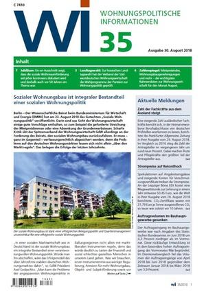 Wohnungspolitische Informationen 35/2018 gdw | Wohnungspolitische Information