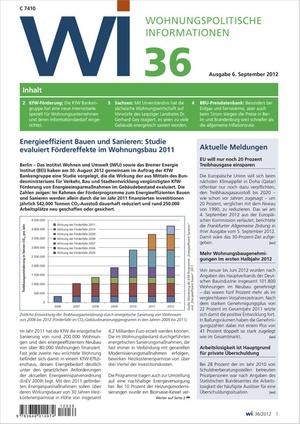 Wohnungspolitische Informationen Ausgabe 36/2012 | Wohnungspolitische Information