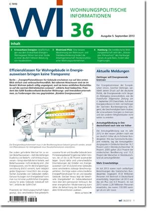 Wohnungspolitische Information Ausgabe 36/2013 | Wohnungspolitische Information
