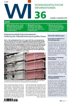 Wohnungspolitische Informationen 36/2015 GdW | Wohnungspolitische Information