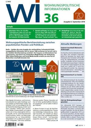 Wohnungspolitische Informationen 36/2018 gdw | Wohnungspolitische Information
