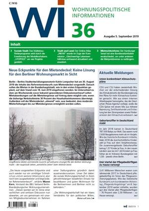 Wohnungspolitische Informationen 36/2019 gdw | Wohnungspolitische Information
