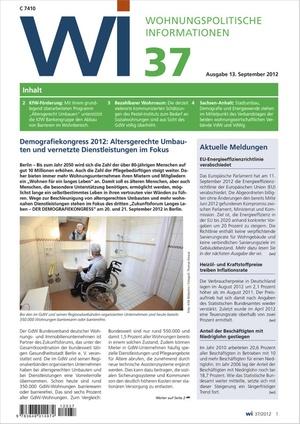 Wohnungspolitische Informationen Ausgabe 37/2012 | Wohnungspolitische Information