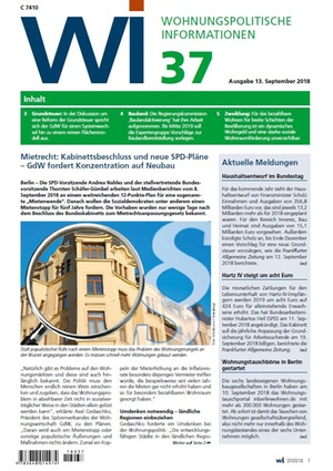 Wohnungspolitische Informationen 37/2018 gdw | Wohnungspolitische Information