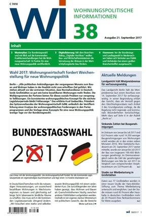 Wohnungspolitische Informationen 38/2017 gdw | Wohnungspolitische Information