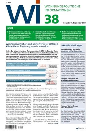 Wohnungspolitische Informationen 38/2019 gdw | Wohnungspolitische Information