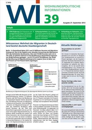 Wohnungspolitische Informationen Ausgabe 39/2012 | Wohnungspolitische Information