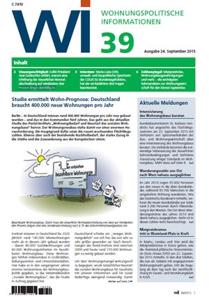 Wohnungspolitische Informationen 39/2015 GdW   Wohnungspolitische Information