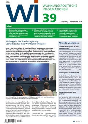 Wohnungspolitische Informationen 39/2018 gdw | Wohnungspolitische Information