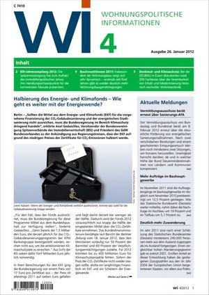 Wohnungspolitische Informationen Ausgabe 4/2012 | Wohnungspolitische Information