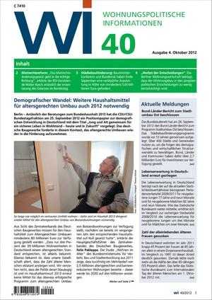 Wohnungspolitische Informationen Ausgabe 40/2012 | Wohnungspolitische Information