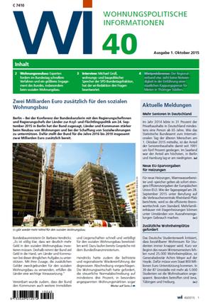 Zwei Milliarden Euro mehr für den sozialen Wohnungsbau | Wohnungspolitische Information