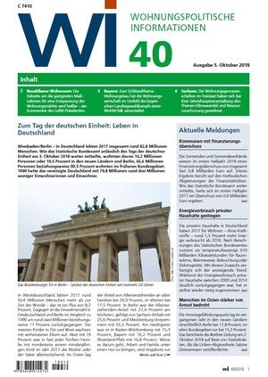 Wohnungspolitische Informationen 40/2018 gdw | Wohnungspolitische Information