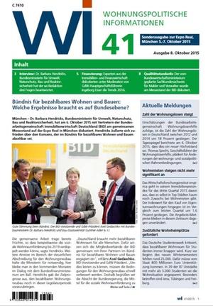 Wohnungspolitische Informationen 41/2015 GdW   Wohnungspolitische Information