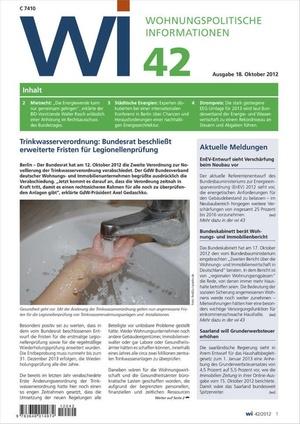 Wohnungspolitische Informationen Ausgabe 42/2012   Wohnungspolitische Information