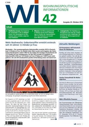 Wohnungspolitische Informationen 42/2016 gdw | Wohnungspolitische Information