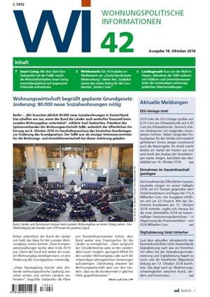 Wohnungspolitische Informationen 42/2018 gdw | Wohnungspolitische Information