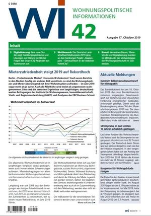 Wohnungspolitische Informationen 42/2019 gdw | Wohnungspolitische Information