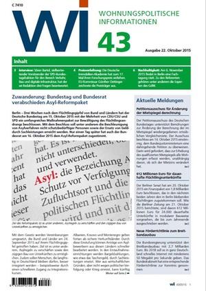 Wohnungspolitische Informationen 43/2015 GdW | Wohnungspolitische Information