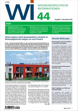 Wohnungspolitische Informationen Ausgabe 44/2012 | Wohnungspolitische Information