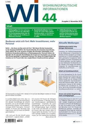 Wohnungspolitische Informationen 44/2018 gdw | Wohnungspolitische Information