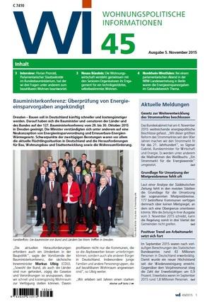Wohnungspolitische Informationen 45/2015 GdW   Wohnungspolitische Information