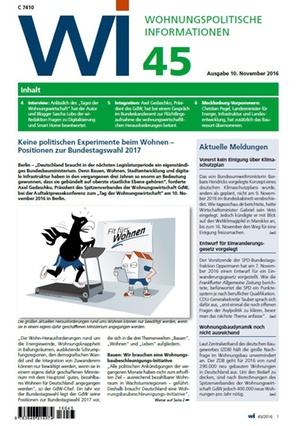 Wohnungspolitische Informationen 45/2016 gdw | Wohnungspolitische Information