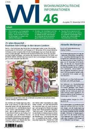 Wohnungspolitische Informationen 46/2014 | Wohnungspolitische Information