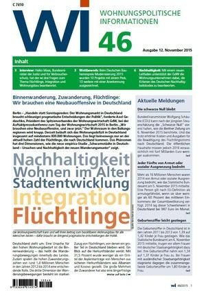 Wohnungspolitische Informationen 46/2015 GdW | Wohnungspolitische Information