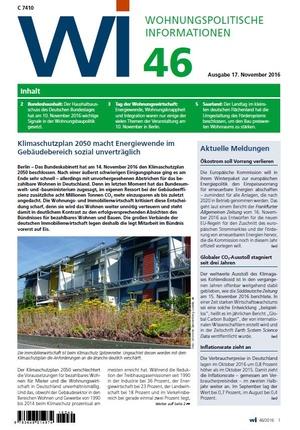 Wohnungspolitische Informationen 46/2016 gdw   Wohnungspolitische Information