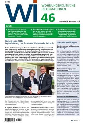 Wohnungspolitische Informationen 46/2018 gdw | Wohnungspolitische Information