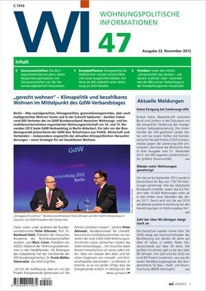 Wohnungspolitische Informationen Ausgabe 47/2012 | Wohnungspolitische Information