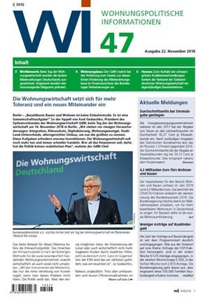 Wohnungspolitische Informationen 47/2018 gdw | Wohnungspolitische Information